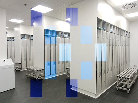 Stainless Steel Lockers And Benches In Changing Rooms For Access To Clean Rooms