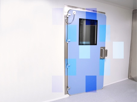 Blue inflatable gasket door