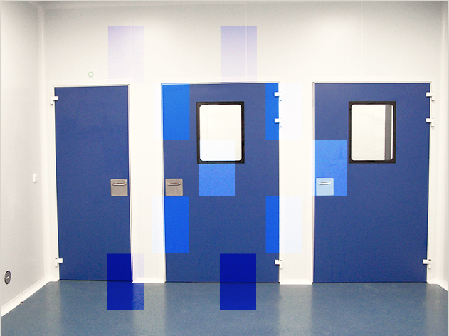 Clean Concept CR 60 flush doors with peepholes for clean rooms