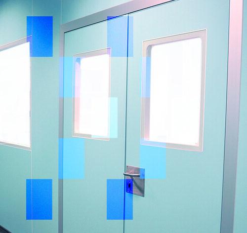 Porte avec viseur double pour salle propre