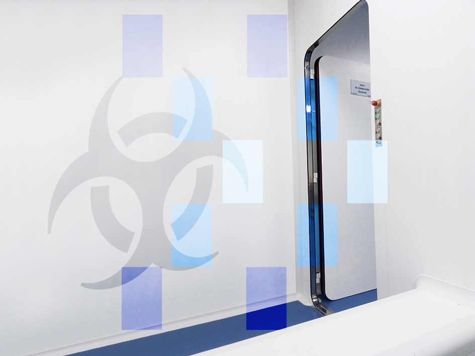 Inflatable gasket door in changing room for access to containment rooms
